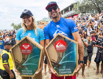 OWEN WRIGHT AND STEPHANIE GILMORE WIN QUIKSILVER AND ROXY PRO GOLD COAST